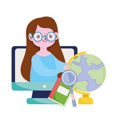happy teachers day teacher computer online learn vector image