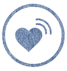 Heart radio signal rounded fabric textured icon vector