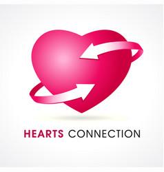 Hearts connection logo vector