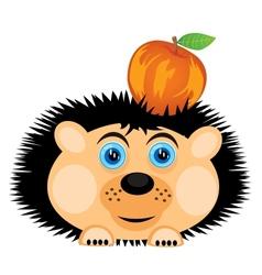 Hedgehog carries apple vector image