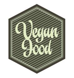 hexagonal vegan food label vector image