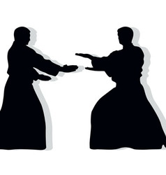 Hieroglyph of Aikido and two occupying men vector image