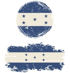 Honduras round and square grunge flags vector image