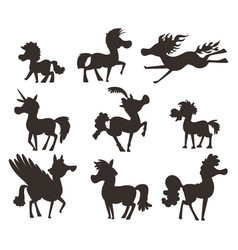 Horse pony stallion silhouette breeds color vector