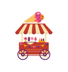 Ice cream cart on wheels with ice cream cone vector