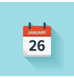 January 26 flat daily calendar icon Date vector