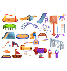 kid playground icons set cartoon style vector image