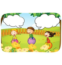 Kids and ball vector image