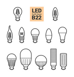 Led light b22 bulbs outline icon set vector