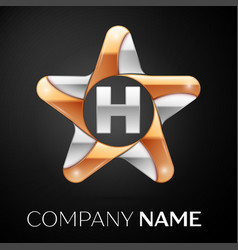 Letter h logo symbol in the colorful star on black vector