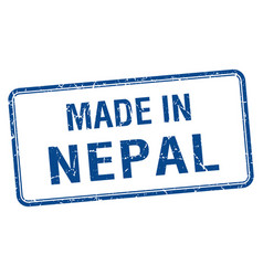 Made in nepal blue square isolated stamp vector