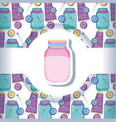 Mason jar with crafts pattern background vector