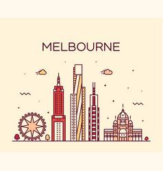 Melbourne big city skyline australia linear vector
