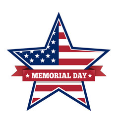 Memorial day with star in us national flag colors vector