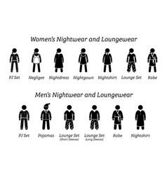 men and women nightwear and loungewear fashion vector image