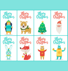 merry christmas big set on vector image