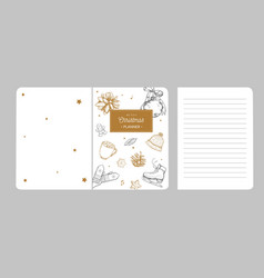 merry christmas notebook planner scrapbook cover vector image