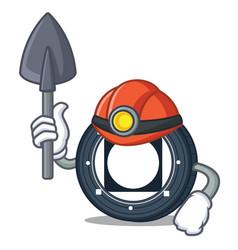 Miner byteball bytes coin mascot cartoon vector