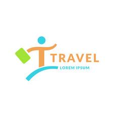 Modern bright logo travel company emblem of vector