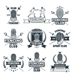 monochrome badges set of fencing sport vector image