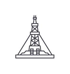 oil production platform line icon concept oil vector image