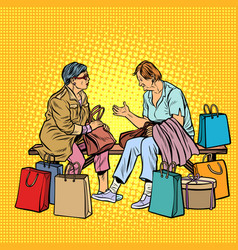 older women girlfriends shopping vector image