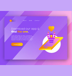 online dating mobile app landing page template vector image