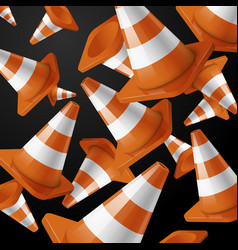 orange falling road cones with stripes on black vector image