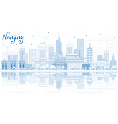 Outline nanjing china city skyline with blue vector