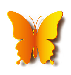 paper yellow butterfly with shadow vector image