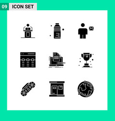 Pictograph set 9 simple solid glyphs header vector