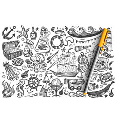 pirates hand drawn doodle set vector image