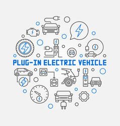plug-in electric vehicle circular outline vector image
