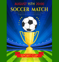 Poster for soccer match championship vector