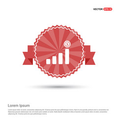 Presentation on business growth icon - red ribbon vector