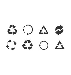recycle icon set black on white background vector image