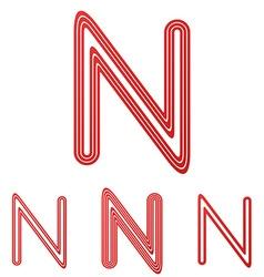 Red letter n logo design set vector image