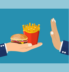 rejecting the offered junk food vector image
