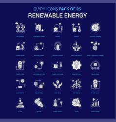 renewable energy white icon over blue background vector image