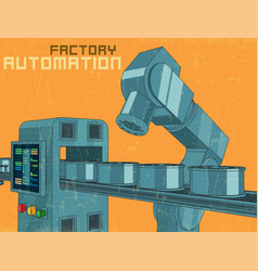 Robotic industrial factory line retro poster vector