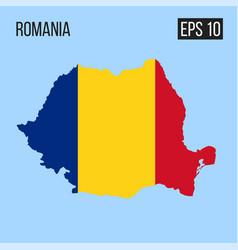 Romania map border with flag eps10 vector