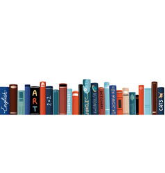 Row different colorful books flat vector