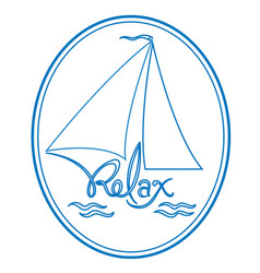 sailboat yacht relax logo vector image