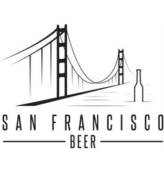 san francisco golden gate bridge with beer vector image