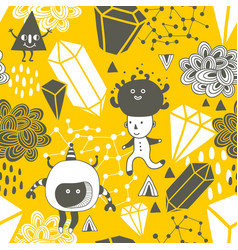 Seamless pattern with strange creations and design vector