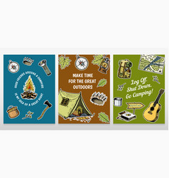 Set of camping cards poster or print template vector