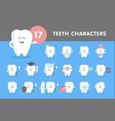 Set of smiling teeth vector