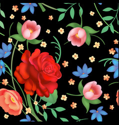 Shabchic vintage roses tulips and forget-me vector
