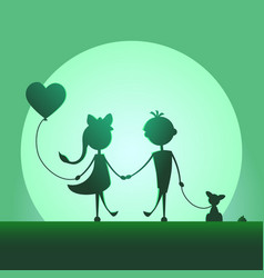 Silhouettes of a boy and a girl walking in the vector