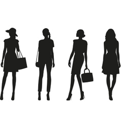 Silhouettes of women vector image